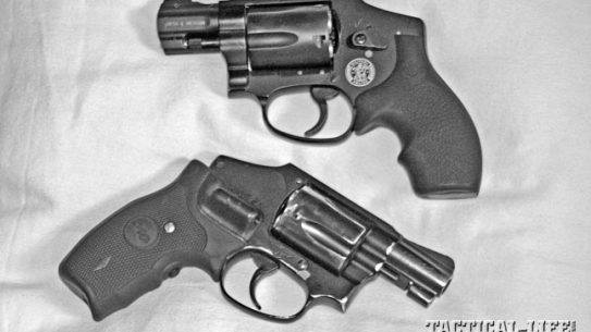 """Once you find a carry gun that works for you, get another for a spare. These """"hammerless"""" S&W J-frame lightweights are M340 M&P with Hogue Bantam grips, top, and a M442 Airweight with Crimson Trace Lasergrips, below."""