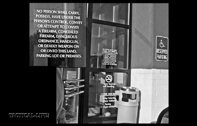 """It's """"asking for trouble"""" to """"go where you're not wanted."""" Taking time to read the fine print on the door of this jewelry store in the usually gun-friendly NH…"""