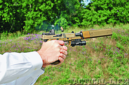 On the range, the FNP-45 and Osprey suppressor were a perfect match, due to their similar finishes.