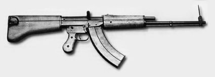 Experimental assault rifle model of 1946 by experienced designer S. G. Simonov, inventor of the AVS-36 and  SKS-45 rifles, although a more polished design than some submissions, did not compare favorably with the Kalashnikov AK design.