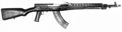 After having decided on the M43 cartridge, but before there was an SKS rifle or an AK assault rifle, the Soviets built this M1944 Avtomat, based on a shortened Tokarev action, with 30-round magazine.