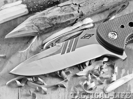 The Ranger's 3.75-inch blade is well designed with enough belly to perform field chores. The S30V blade shaved through both green and seasoned hardwood with minimal effort.