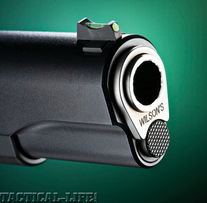 The Wilson 1911 is equipped with a dovetailed front sight that features a fiber optic light pipe.