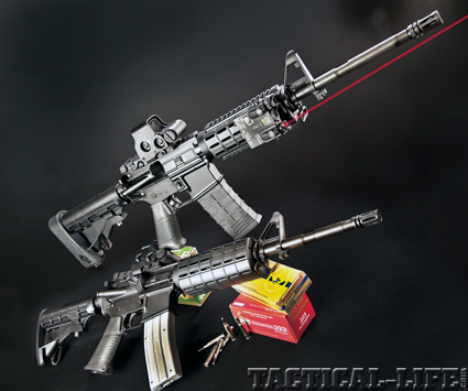 The CMMG M4 pair offers the LE officer an ideal duty weapon and matching training weapon.