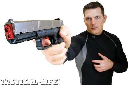 The SIRT pistol's red laser shows trigger  prep and the green laser shows trigger  break for easy-to-see practice.