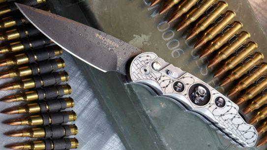 Pro-Tech Chad Nichols Rain Drop Damascus Knife