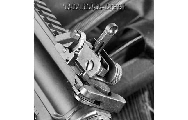 Colt includes a rear backup iron sight that is similar to military-issued units.