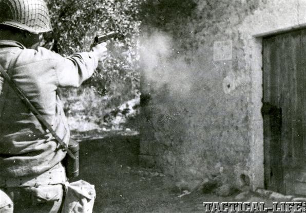 Soldier Firing Firearm