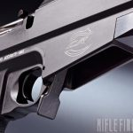The M2012 accepts five- or 10-round Accurate-Mag and AICS-pattern magazines. Note the ambidextrous mag release.