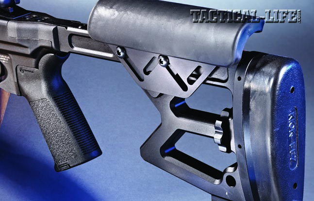 To personalize your fit behind the rifle, the solid, skeletonized buttstock can be fine-tuned for cheek height and length of pull.