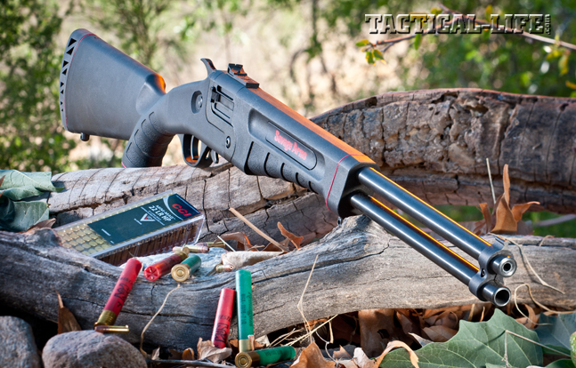 Savage Arms' new lightweight Model 42 over/under is easy to carry and provides a quick follow-up solution for harvesting small game. The top barrel is chambered for .22 LR ammo while the bottom is ready for .410 shotshells.
