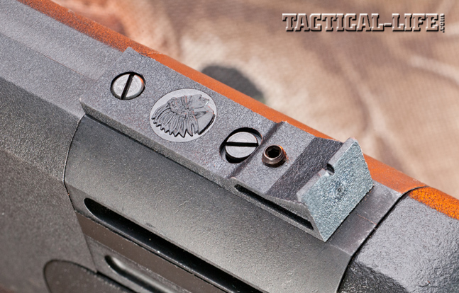 Savage Arms equips the Model 42 with polymer sights, including an adjustable rear unit featuring a small notch.