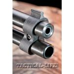 Savage Arms equips the Model 42 with polymer sights, including a front blade that is integral with the barrel band.