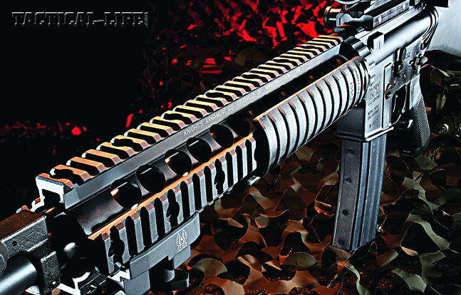BCM's SAM-R is Mil-Spec from barrel to stock. The 410 stainless barrel is treated with IonBond Black DLC to cut the shine, the lower is ready for RDIAS installation of an NFA-registered auto sear, and the railed forend has lots of real estate for accessories.