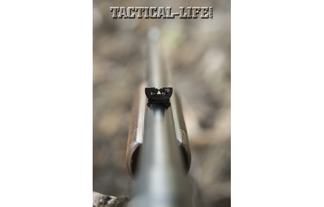 The Remington 141 came standard with a folding, semi-buckhorn rear sight.