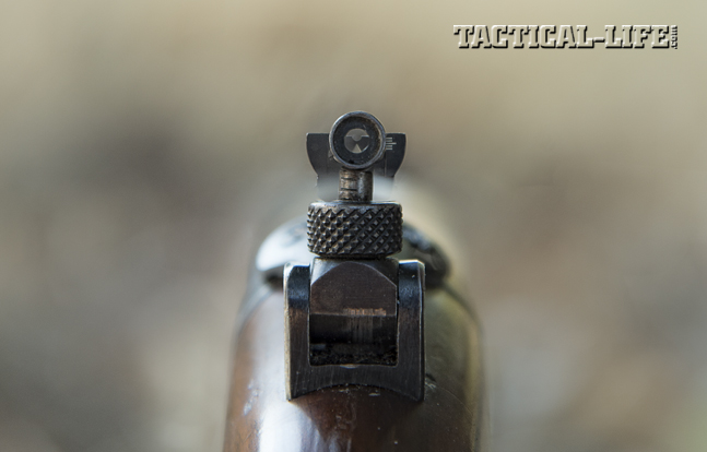 Aftermarket peep sights like the one shone here were popular add-ons for greater accuracy.