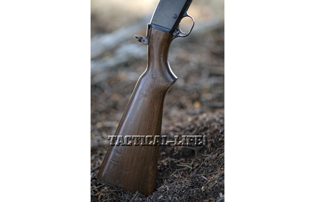 Though plain, straight-grain walnut was primarily used for the stocks of Model 141s, adding to its overall durability in the woods.