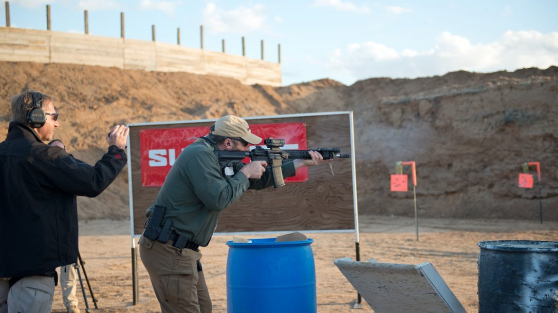 SureFire at the Range | New Products for 2014 - John on the LMT rifle