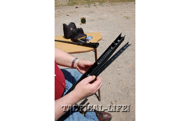 Without the barrel insert (right), the stock can fit a 0.92-inch-diameter bull barrel.