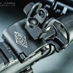 The YHM rear sight has a standard AR peep configuration, is adjustable for windage and elevation and folds very flat.