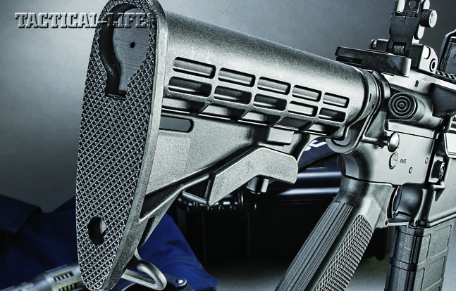 The Yankee Hill Machine SLR 300 Blackout comes standard with a 6-position buttstock. Note the forward assist.