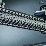 Handguard features built-in rails at three, six, nine and twelve o'clock positions. Rails can be attached as desired in various lengths.