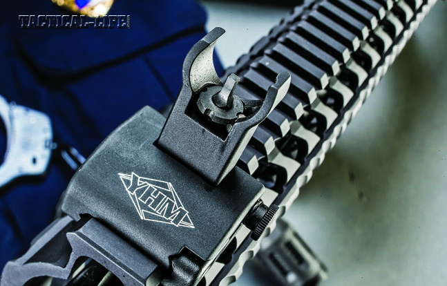 The YHM flip-up sights are made from aircraft-grade aluminum, come standard and feature push-button deployment.