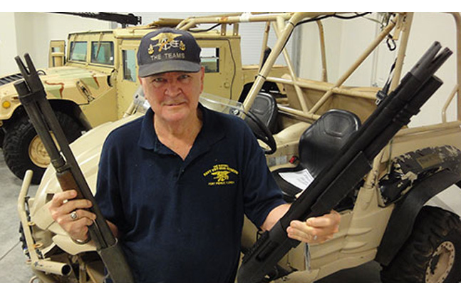 "Chief ""Patches"" Watson holding his duckbill shotgun used in Vietnam (left), and Paradigm SRP GATOR -equipped shotgun."