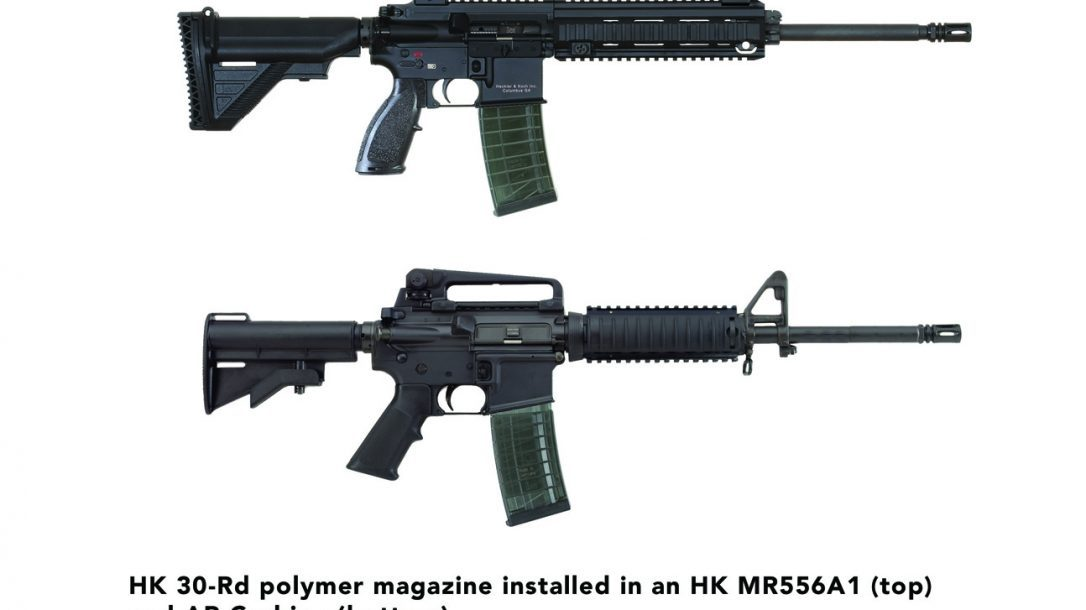 HK 30-Round Polymer Magazine in an HK MR556A1 and an AR carbine