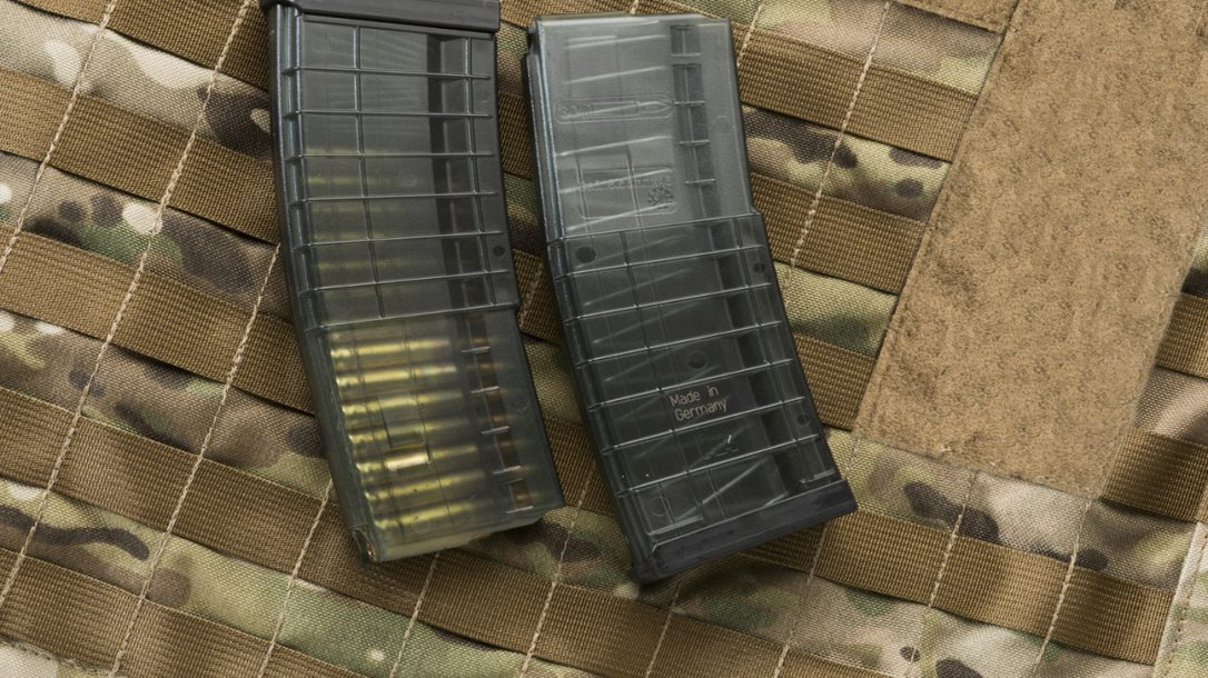 HK 30-Round Polymer Magazines, loaded and empty