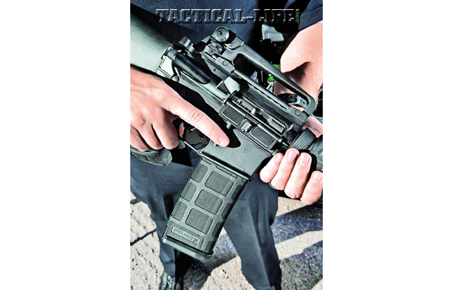 Just like the M16A1, the AR-15A4 has a forward assist and a fence around the mag release. An ambidextrous safety is one of the enhancements.
