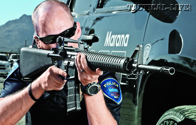 A semi-auto version of the military's M16A4, Colt's AR-15A4 provides the same rock-solid reliability and accuracy LEOs need for the streets.