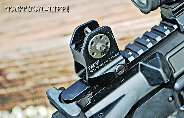 Machined from 6061 aircraft-grade aluminum, Daniel Defense's A1.5 fixed rear sight features an A2-style aperture with A1 adjustments.