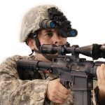 Night Vision Depot Binocular Night Vision Device with Gain Control with Arms Rotated Up in Stow Position