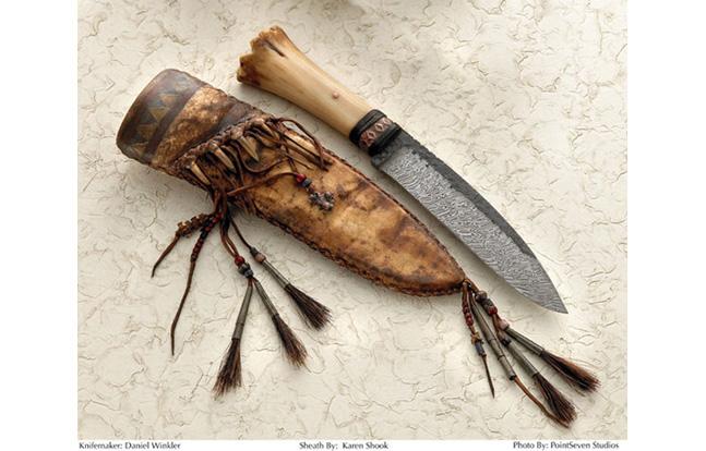 Primitive Damascus Belt Knife