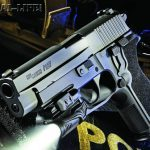 The new Sig Sauer P227 Nitron carries 10+1 rounds of .45 ACP firepower in a tank-tough package. Shown with a Crimson Trace CMR-202 Rail Master light.