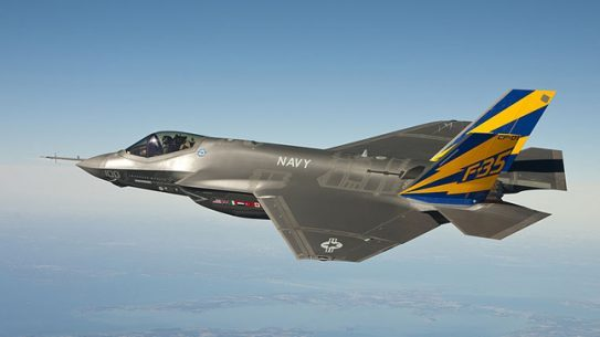 The F-35C Joint Strike Fighter is scheduled to be flown by Navy pilots from an aircraft carrier this October.