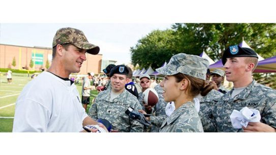 The third annual NFL Salute to Service award has been awarded to Baltimore Ravens head coach John Harbaugh.