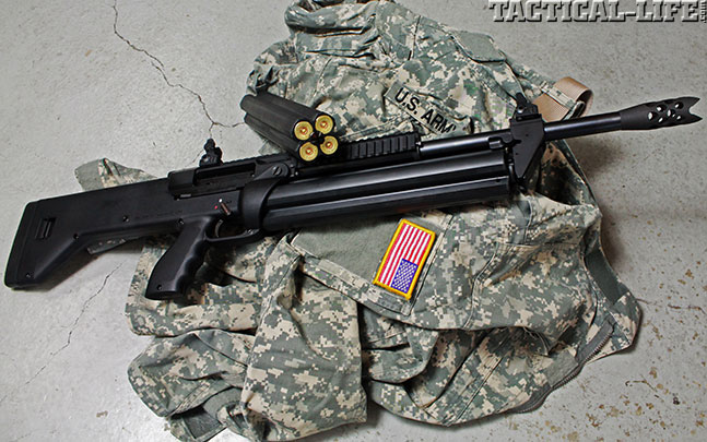 12 New Tactical Shotguns For 2014 - SRM Model 1216 Gen 2 Right Side w Spare Mag
