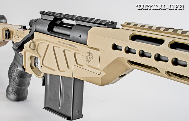 Modularity is not common in bolt action rifles, but Accurate-Mag has achieved just that. Note the rifle's angular receiver, the ambidextrous, paddle-type magazine release behind the 10-shot magazine.