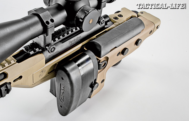 The AM40A6 looks similar to an AR-style rifle due to its free-floating handguard, folding stock and modular appearance.