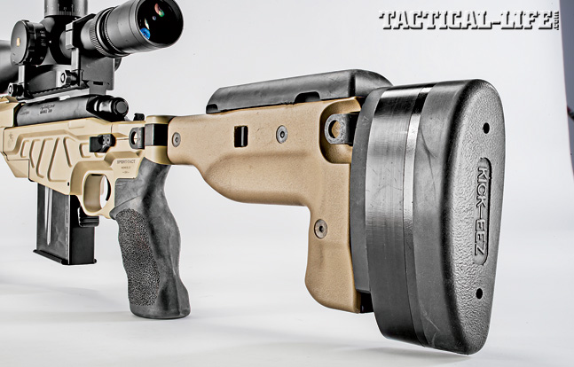 Establishing a proper shooter interface is critical to accurate shooting, and the fully adjustable, folding buttstock on the AM40A6 makes this possible. Note the thick KICK-EEZ buttpad, which should help absorb some of the rifle's 7.62mm NATO recoil.