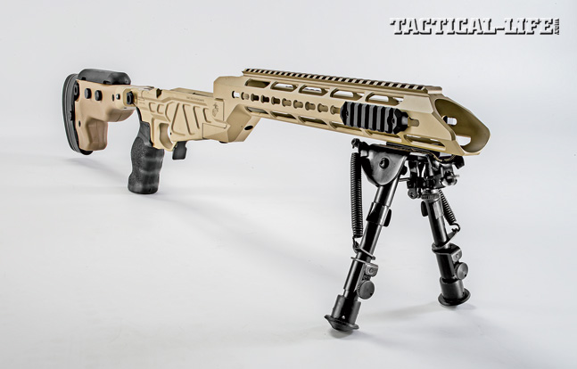 The three-piece, ergonomic chassis system (shown without the barrel or action) is made of aluminum, combining lightweight with durability.