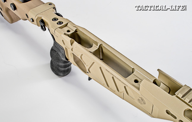 Modularity is not common in bolt action rifles, but Accurate-Mag has achieved just that. Note the rifle's heavy-duty stock hinge.