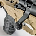 The rifle utilizes a Remington 700 bolt handle with subtle checkering that is easy to reach.