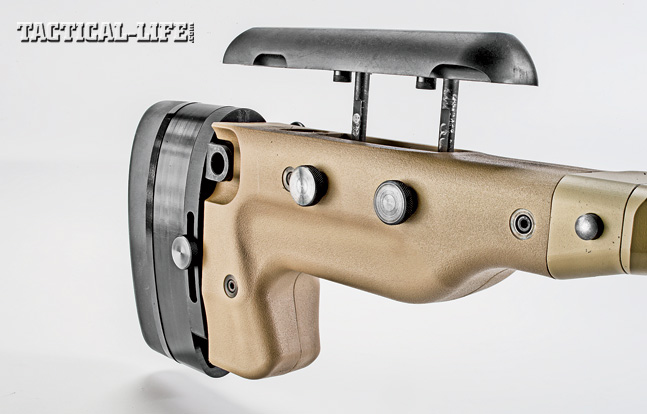 The stock is also designed with a hook so operators can use their support hand to pull the rifle into their shoulder while firing from a prone position.