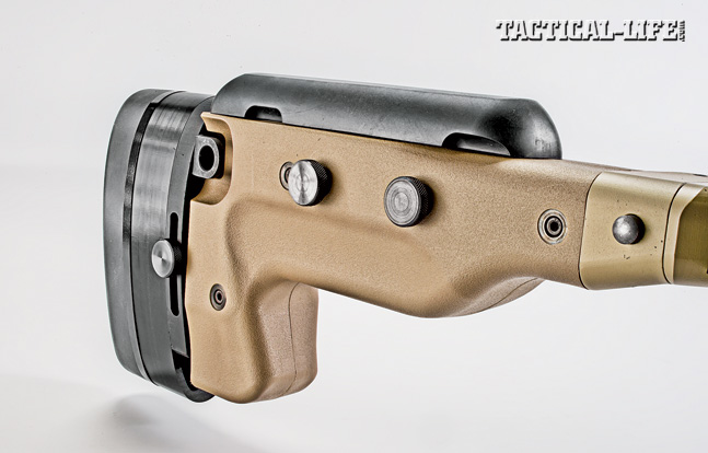 The rear section of the AM40A6's buttstock is fully adjustable for length of pull, cheekrest height, and it also folds.