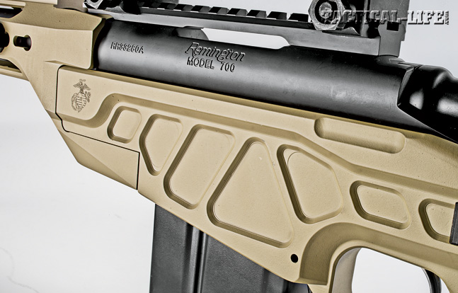 Originally designed for a USMC modular rifle stock solicitation, the rifle's aluminum receiver features milled-out portions to save weight without sacrificing rigidity.