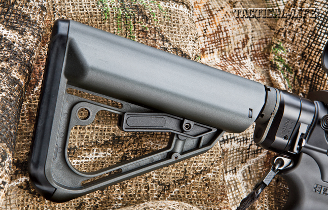 The EXOS Defense Ti-7 buttstock is comfortable, offers two battery storage compartments and can be adjusted to five different length-of-pull positions.