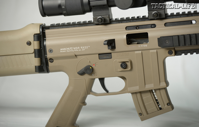 The RX22's controls and ergonomics are similar to an AR's, meaning most shooters will feel at home with it. The AR-style pistol grip is molded into the receiver.